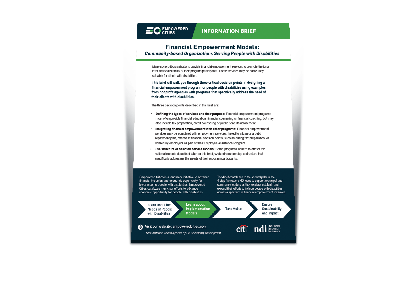Financial Empowerment Models: Community-Based Organizations Serving People with Disabilities