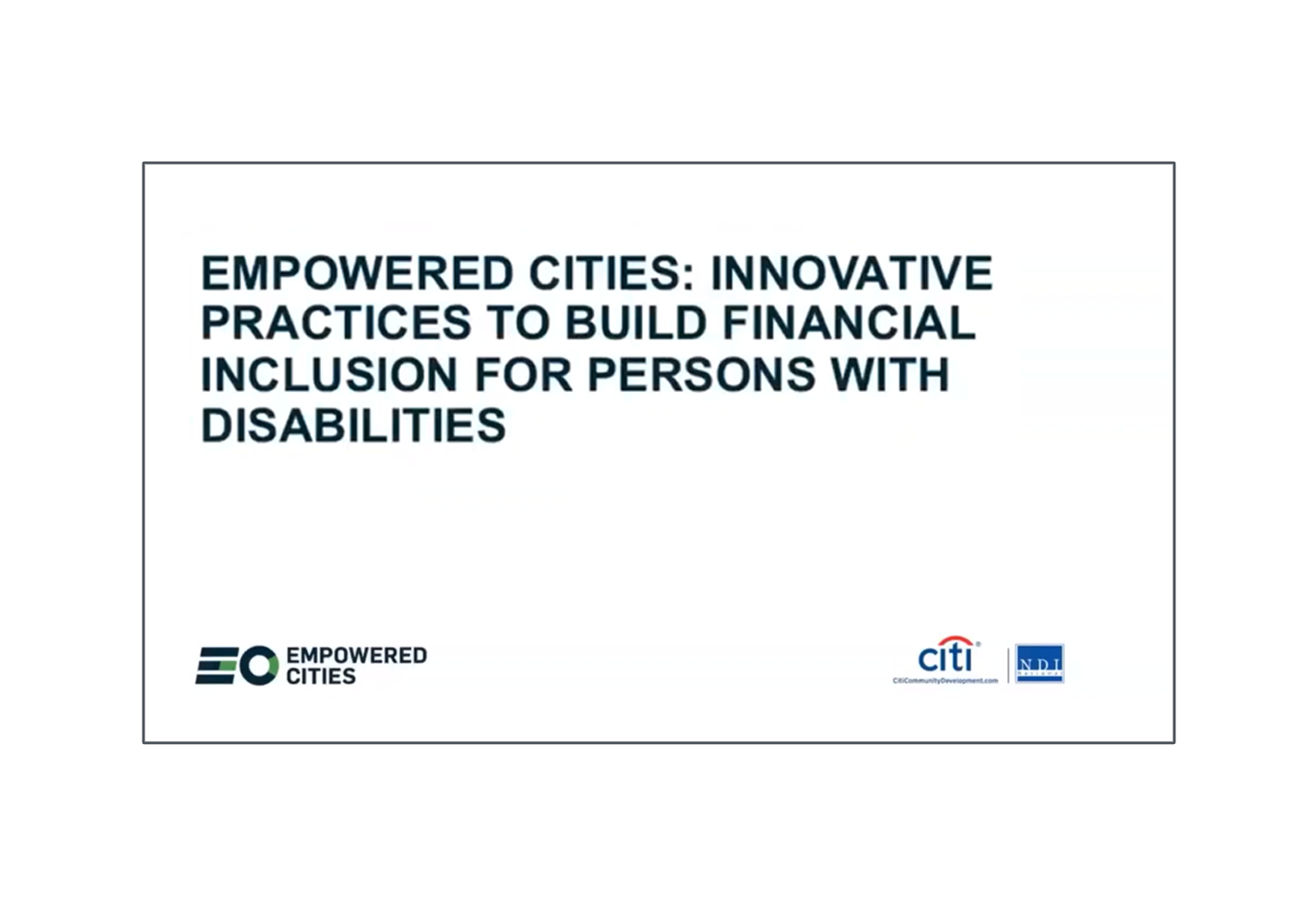 Innovative Practices to Build Financial Inclusion for Persons with Disabilities