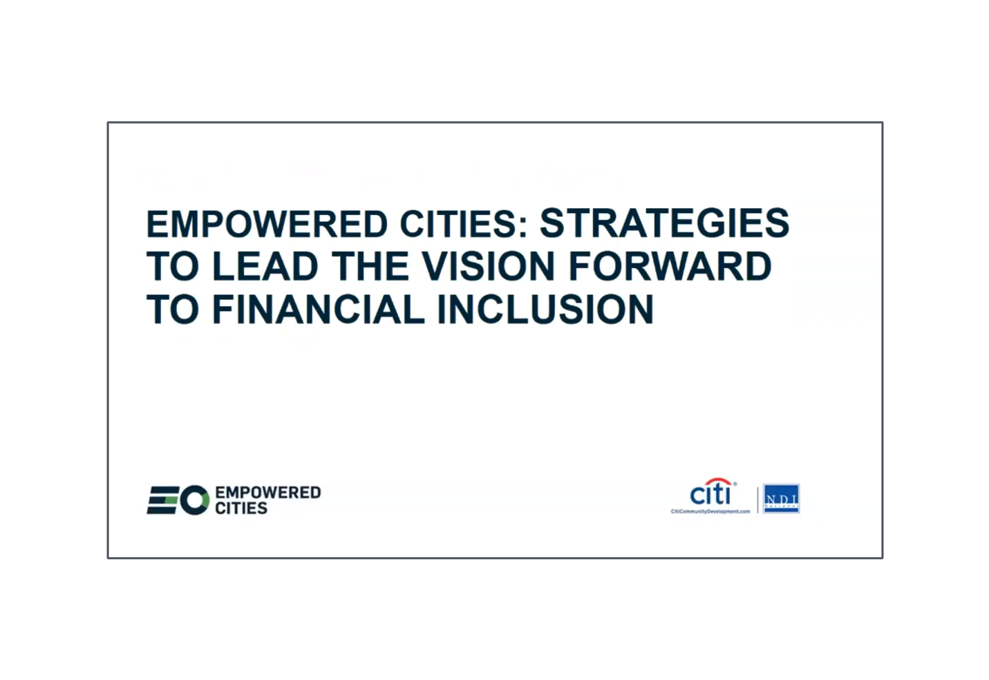 Strategies to Lead the Vision Forward to Financial Inclusion