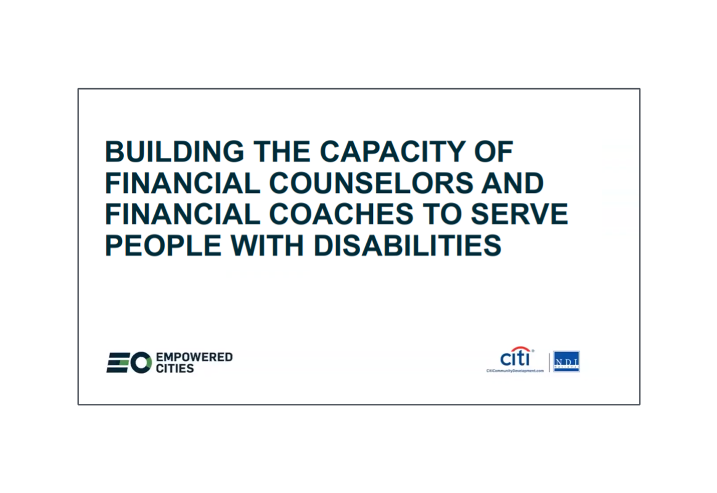 Building the Capacity of Financial Counselors and Financial Coaches to Serve People with Disabilities